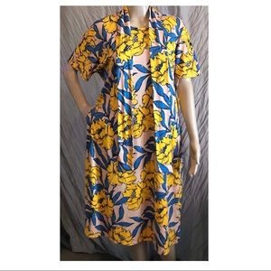 LuLaroe Yellow & Blue Marley Dress size Large